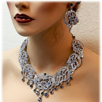 Bridal jewelry set, bib necklace earrings, Modern Contemporary lavender crystal necklace statement, Deco style Purple crystal jewelry set