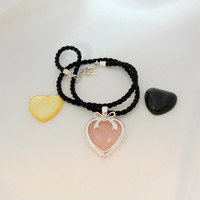 Sterling Silver Heart Necklace Pink Black White Interchangeable Stones