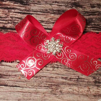 Red and Silver Bow on Lace with Snowflake Rhinestone center Baby Girl Headband or Hair Clip!