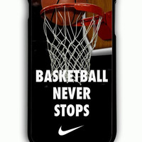iPhone 6 Plus Case - Rubber (TPU) Cover with Nike Basketball Never Stop Rubber Case Design