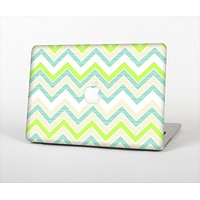 """The Vibrant Green Vintage Chevron Pattern Skin Set for the Apple MacBook Air 13"""""""