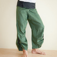 Linen Unisex Fisherman Pants Solid Color with Spectrum Pattern Fold Over Waist and Pull-up Bottom Legs
