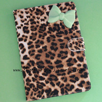 Leopard iPad case with mint green bow,pink bow for choice,bowknot iPad Cover, Leopard Mini Ipad Case, Leather ipad case, Leather ipad cover