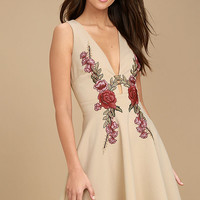 Romantic Rose Beige Embroidered Skater Dress