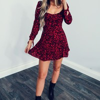 Cheetah Gal Dress: Red/Black