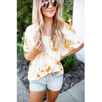 The Dezi Dolman Top (Mustard Tie Dye)