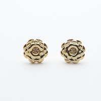 Gold Cactus Flower Stud Earrings