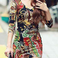 Printed V-Neck Backless Long Sleeve Mini Dress