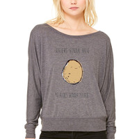 Haters Gonna Hate, Potatoes Gonna Potate 2 WOMEN'S FLOWY LONG SLEEVE OFF SHOULDER TEE