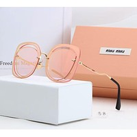 Miu Miu Popular Women Elegant Sun Shades Eyeglasses Glasses Sunglasses Pink I-A-SDYJ