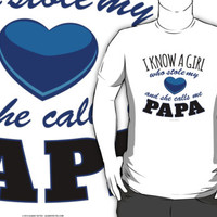 'I Know a Girl Who Stole My Heart and She Calls Me Papa' T-Shirts by Albany Retro