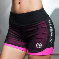 Women Running Shorts for Fitness Workout Two-Pieces Gym Sports   Shorts Yoga Short G-224