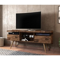 """63"""" Wooden TV Media Stand with 4 Open Compartments, Brown By The Urban Port"""