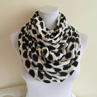 Black and White Polka Dot Infinity scarf scarves by ASLIDESIGN