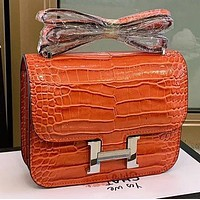Hermes High Quality fashion leather shoulder bag crossbody bag Orange