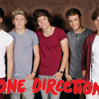 One Direction - Group Burgundy Background Music Poster Prints at AllPosters.com