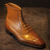 Handmade Men Tan Color Wingtip Brogue Ankle Lace Up Boots, Men Leather Boot