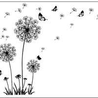 """""""Butterfly Flying In Dandelion """"bedroom Living room stickers Style Wall Stickers Design PVC Wall Decals 5125"""