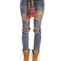 Ripped & Belted Skinny Jeans | Wet Seal