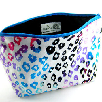Multi Color Cheetah Print Makeup Bag, Large Cosmetic Pouch, Great for Travel, Zippered and Lined, Pink, Aqua, Black and White, Under 20