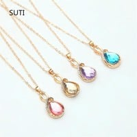 Charm Necklaces &Pendants for Women 8 Color Water Drop Necklace Gold/Silver Chocker Crystal Rhinestone SUTI Pendant Jewelry Gift