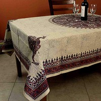 Paisley Peacock Veggie Hand Block Print Cotton Tablecloth Rectangle Round Square
