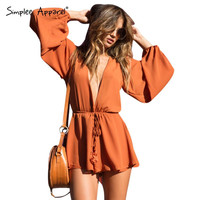 Simplee Apparel 2016 new tan chiffon women jumpsuit romper Long sleeve drawstring one piece overalls Sexy deep v neck playsuits