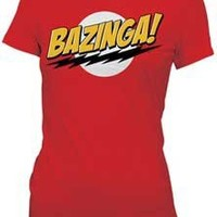 The Big Bang Theory Bazinga! Men's T-shirt Tee, Red, Large