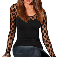 Women Sexy See Through T-Shirts Casual O Neck Long Sleeve Shirt Lace Tops Black Tee Shirt femme camisetas y tops INY66