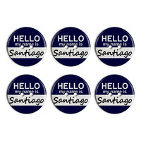 Santiago Hello My Name Is Plastic Resin Button Set of 6