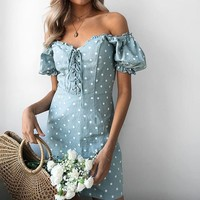 Lace Up Beach Short Party Dress Polka Dot Casual Women Dress High Street Puff Sleeve Sexy Dress