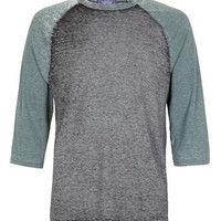 Green/Grey Burnout 3/4 Sleeve T Shirt - Men's T-shirts & Tanks  - Clothing