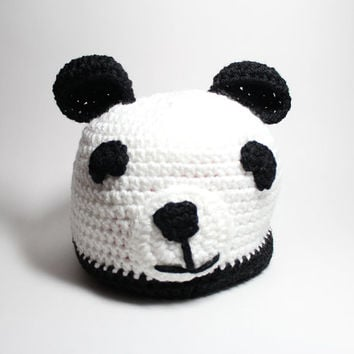 Kids Panda Beanie/ Childrens winter hat/ Black and white crochet beanie