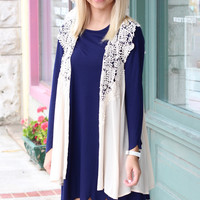 My Time Lace Crochet Sleeveless Cardigan {Natural}