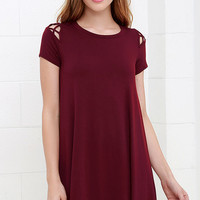 Take Effect Wine Red Swing Dress