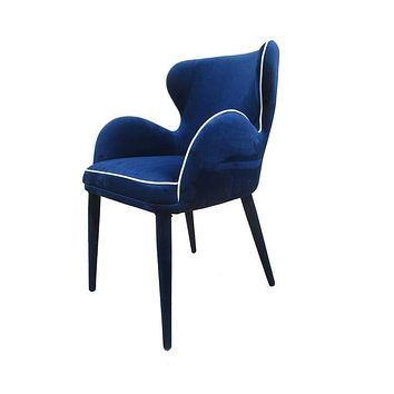 """Blue Accent Chair - 33"""" Blue Fabric and Metal Dining Chair"""