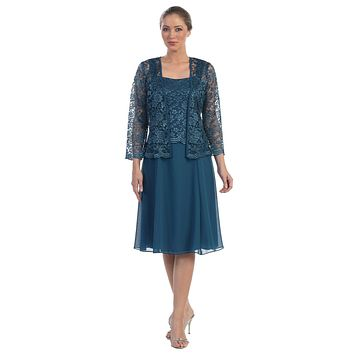 Short Teal Mother of Bride Dress Chiffon Knee Length Lace Jacket