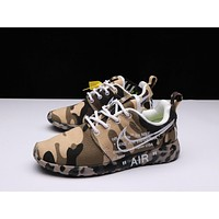 OFF-White X Nike Air Roshe One Camo Beige Running Shoes