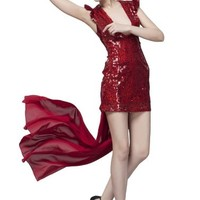 Beautifly Women's Super Sexy Deep V-neck Red Hi-lo Sequin Evening Dress