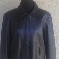 Preston and York lambskin leather coat black lambs skin medium zip front 2 pocket front
