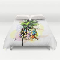 Abstract Watercolor Pineapple Duvet Cover by Channny Tatum Art