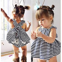 Backless Dress Bow Cotton Briefs 2Pcs Set Clothing Girl 2016 New Baby Girls Clothes Sets