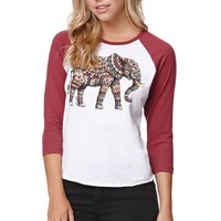 Riot Society Ornate Elephant Raglan T-Shirt - Womens Tee - White/Burgandy
