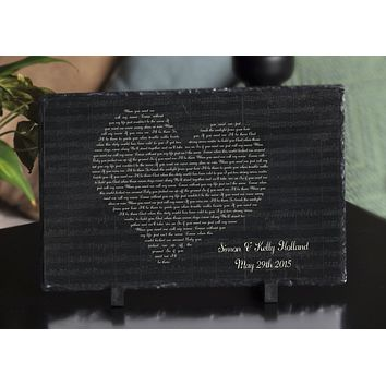Customizable Slate Song Lyric Sign - Heart Lyric Plaque - Handmade and Personalized