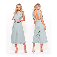 Final Sale - Shooting For the Stars Woven Wide Leg Jumpsuit with Lace Eyelet Detail and Open Back in Sage
