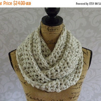 Pre Fall Sale Ready To Ship Infinity Scarf Crochet Ivory Tweed Black Brown Long and Skinny Women's Accessories Eternity Fall Winter