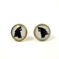 Wolf Earring Studs - Game of Thrones Earrings - Black and White Earring Posts - Woodland Jewelry - Animal Jewelry