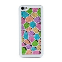 Newsh New Style Cube Rainbow Swarovski Element Crystal White Back Cover Case for iPhone 4 4S