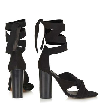 ROSA Suede Knot High Sandals - Topshop