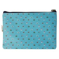 Floral Cosmetic Bag (Blue)